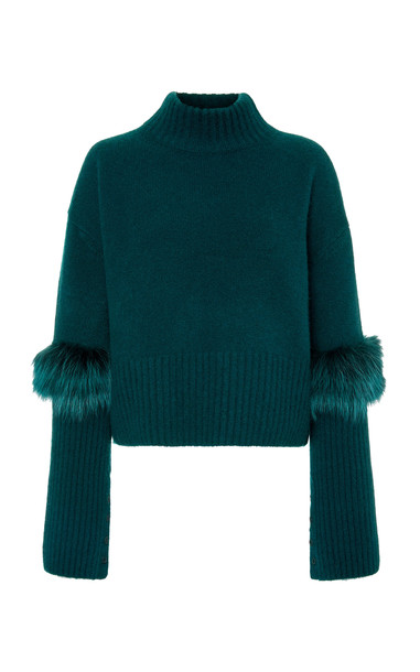 Sally LaPointe Exclusive Fur-Trimmed Cashmere and Silk-Blend Sweater S in green
