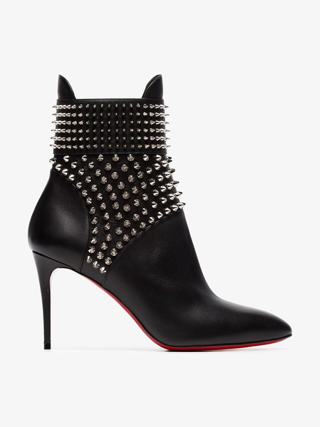 Christian Louboutin black Hongroise 85 studded leather ankle boots