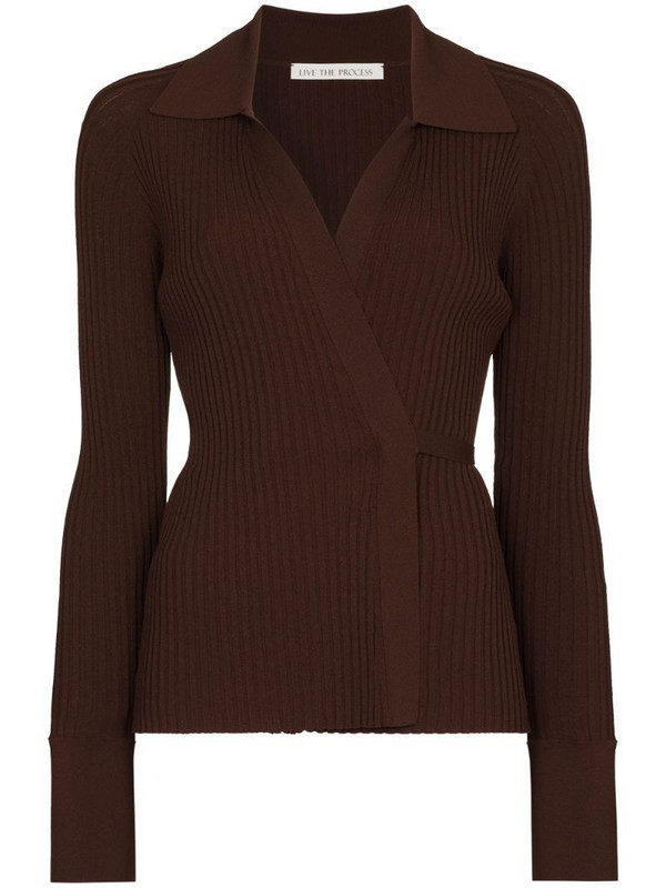 Live The Process ribbed knit wrap cardigan in brown