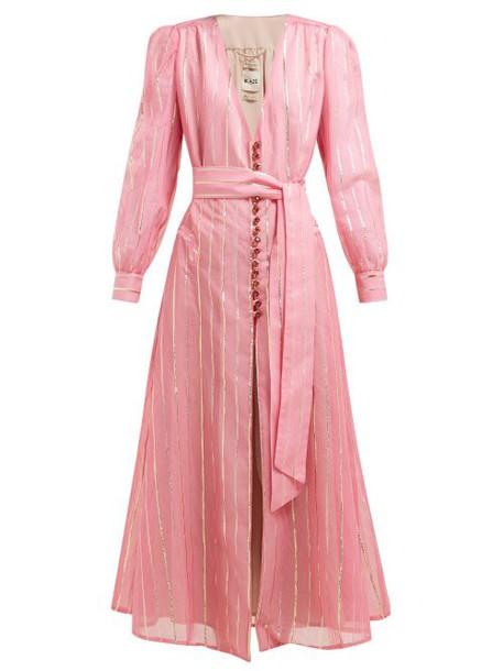 Blazé Milano - Medusa Striped Cotton Blend Gauze Dress - Womens - Pink Stripe