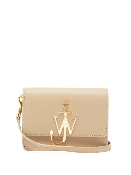 Jw Anderson - Logo Plaque Mini Leather Cross Body Bag - Womens - Brown
