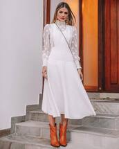 shoes,cowboy boots,brown boots,midi dress,white dress,long sleeve dress,turtleneck dress