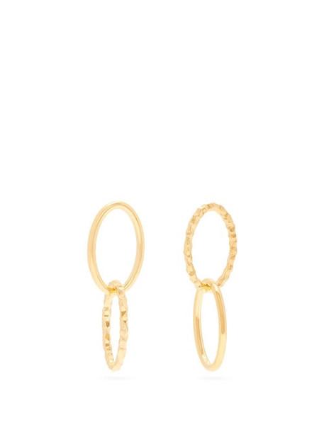 All Blues - Ellipse Mismatched Gold Vermeil Hoop Earrings - Womens - Gold