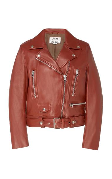 Acne Studios Mock Leather Biker Jacket Size: 34