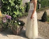 dress,purple,full length,flowers,cream,strapless