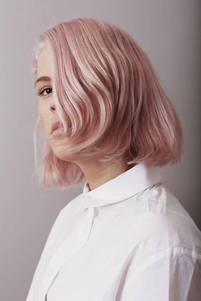 hair accessory pastel hair hair dye pink pink hair short hair white shirt natural makeup look
