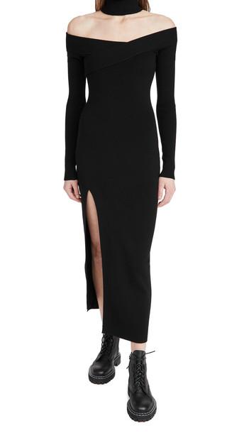 Monse Off Shoulder Turtleneck Arch Dress in black