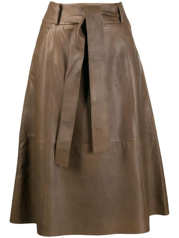 Luisa Cerano tie-waist A-line skirt in brown