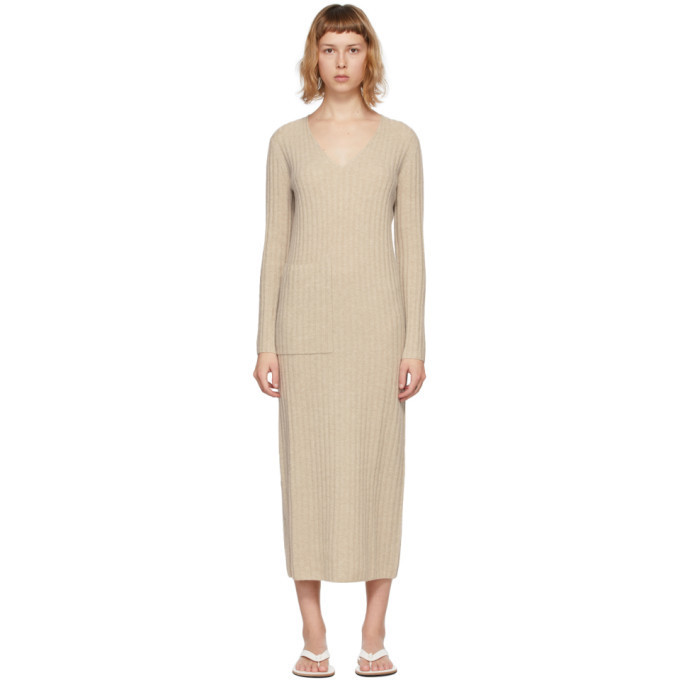 Lisa Yang Beige Cashmere The Willow Dress in sand