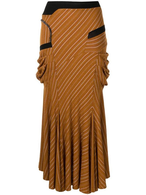 Kiko Kostadinov striped flared midi skirt in brown