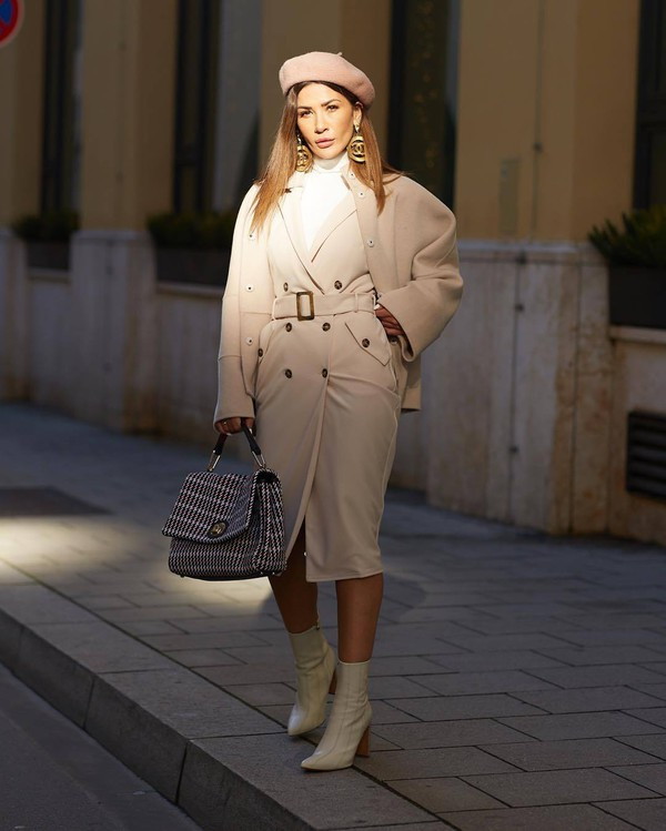 bag handbag plaid white boots heel boots midi dress belted dress double breasted coat max mara white turtleneck top beret earrings chanel