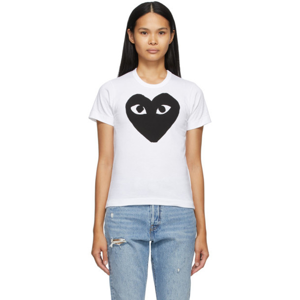 Comme des Garcons Play White and Black Large Heart T-Shirt
