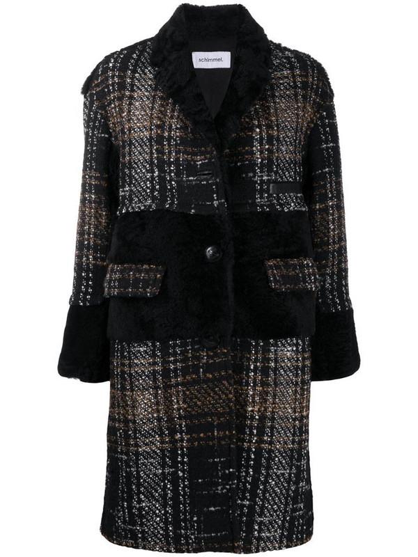 Sylvie Schimmel tweed fur-trim coat in brown