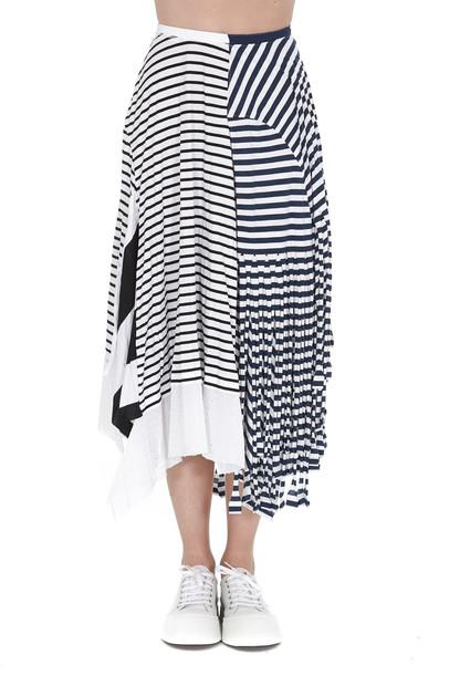 Loewe Striped Skirt in navy / white