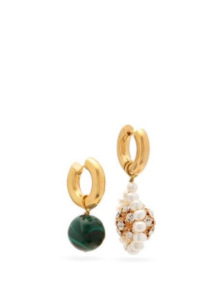 Timeless Pearly - Crystal, Pearl And Malachite Mismatched Earrings - Womens - Multi