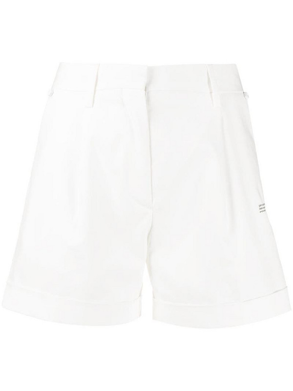 Off-White printed logo high-waisted shorts in white