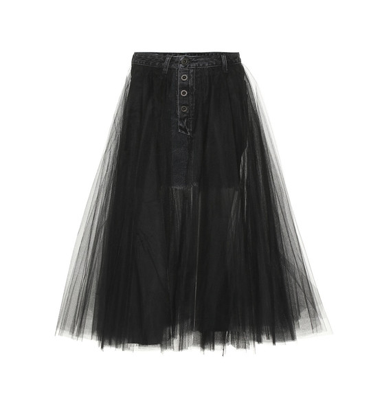 Unravel Denim and tulle skirt in black