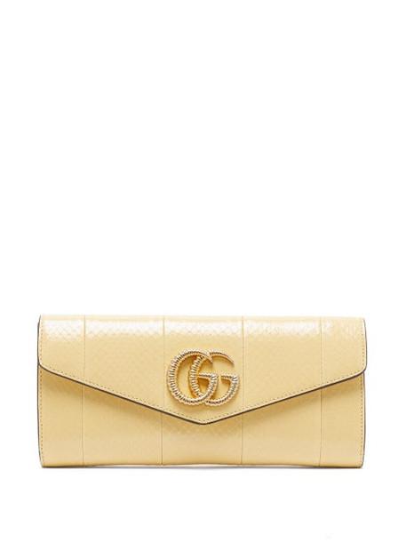 Gucci - Broadway Gg Plaque Elaphe Clutch Bag - Womens - Light Yellow
