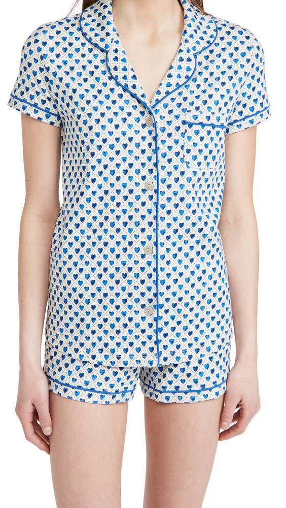 Roller Rabbit Quilted Hearts Polo Pajama Set in cobalt