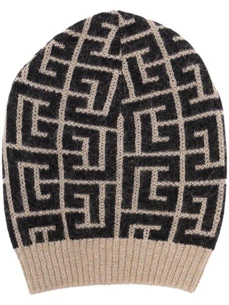 Balmain monogram-pattern knitted beanie - Neutrals