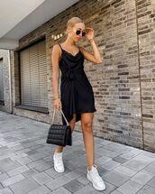 dress,black dress,slip dress,white sneakers,black bag