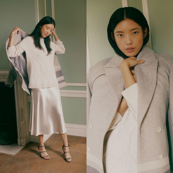 coat shoes sweater skirt