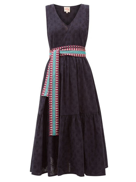 Le Sirenuse, Positano - Evelin Belted Embroidered-cotton Midi Dress - Womens - Navy