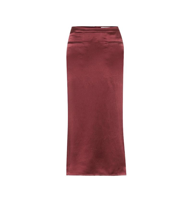 Rejina Pyo Mina silk-satin midi skirt in red