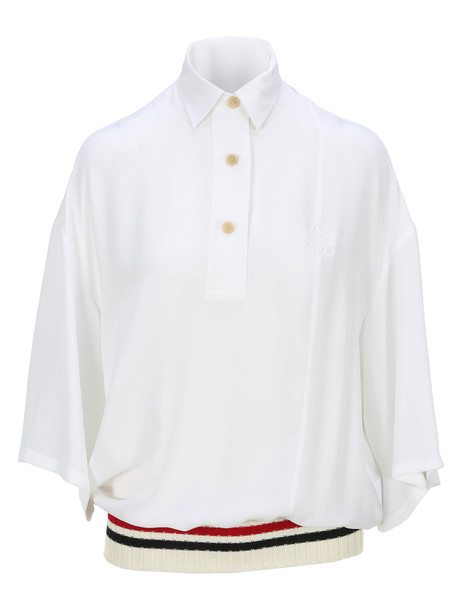 Loewe Ribbed Trim Polo Shirt in white