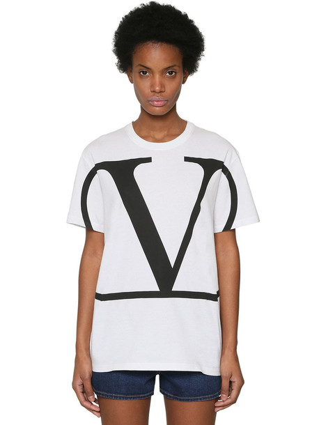 VALENTINO Vlogo Printed Cotton Jersey T-shirt in black / white