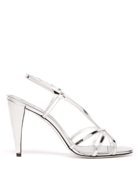 Givenchy - Mirrored Leather Slingback Sandals - Womens - Silver