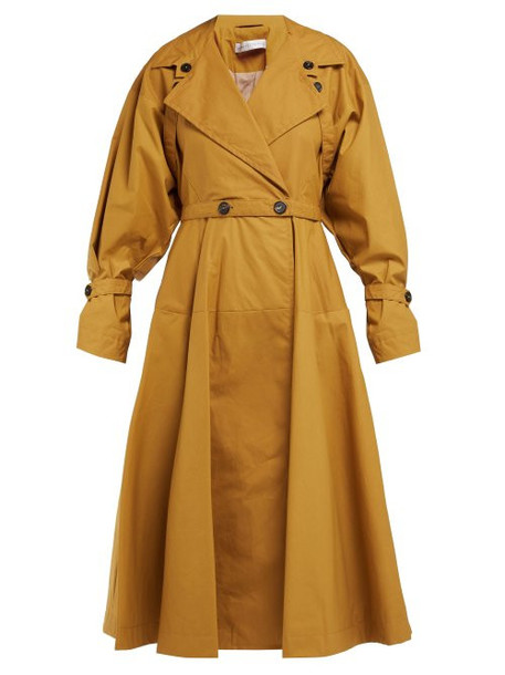 coat trench coat double breasted cotton beige