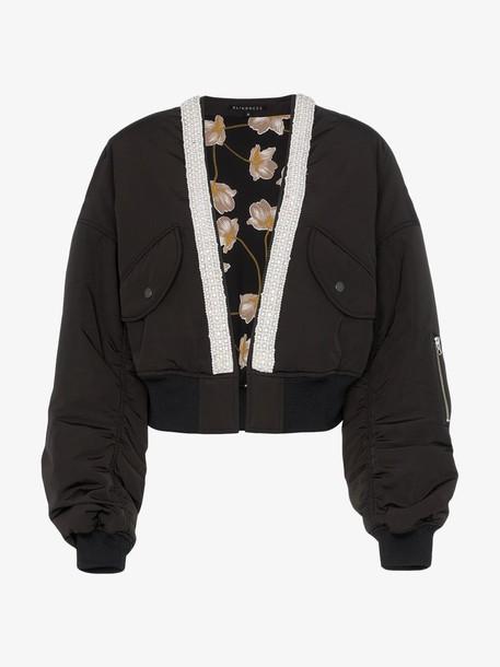 Blindness collarless crop bomber jacket in black