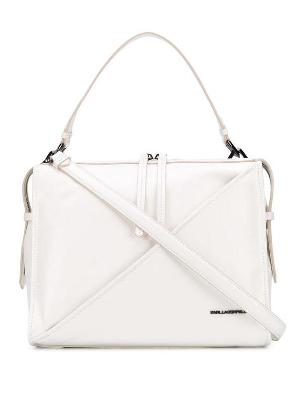 Karl Lagerfeld logo plaque tote bag in white