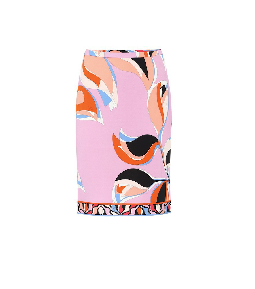 Emilio Pucci Printed crêpe pencil skirt in pink