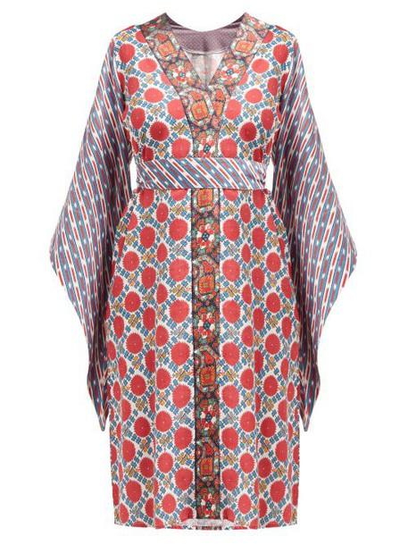 D'ascoli - Baku Geometric Print Tie Waist Cotton Dress - Womens - Red Print