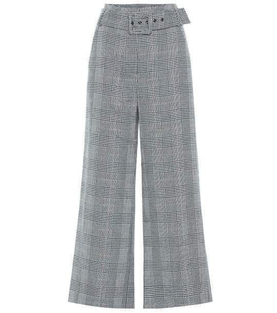 Veronica Beard Dexter checked linen and cotton pants in grey