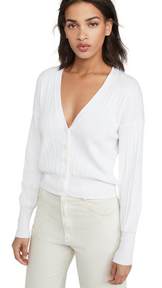 Autumn Cashmere Ribbed V Neck Cardigan in white