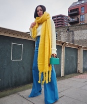 scarf,mohair,loewe,wide-leg pants,blue pants,pumps,handbag,white sweater