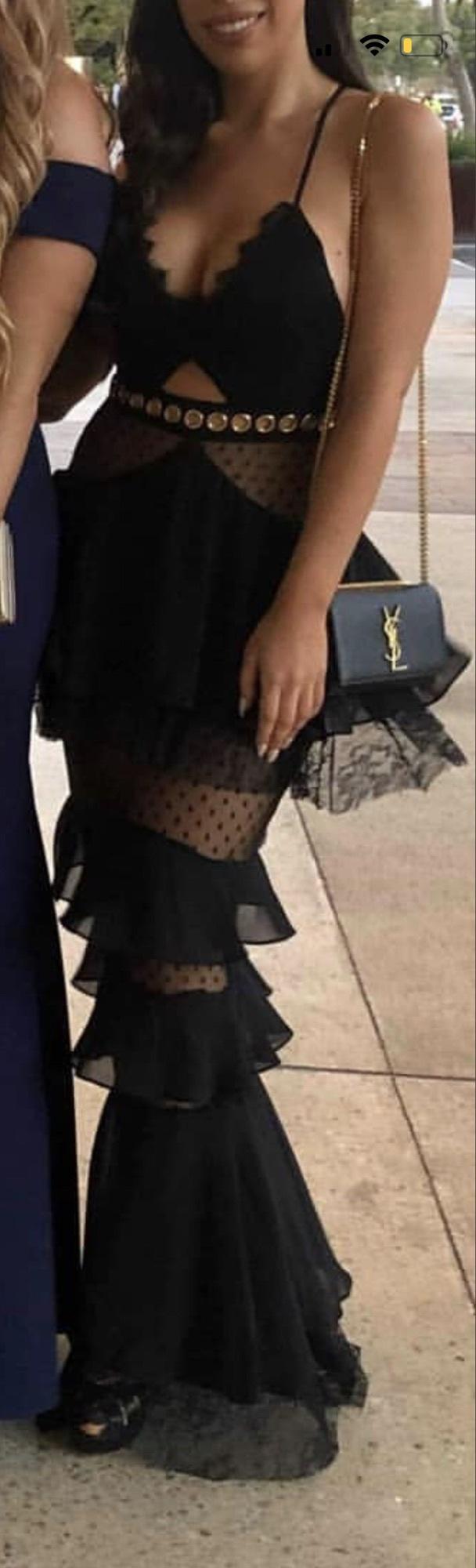 dress black dress formal formal wear ball ball gown dress long dress fishnet detail fish tale dress black dress with frills elegant dress lace elegant dress formal wear  black long dress