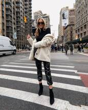 pants,black pants,black boots,sock boots,black turtleneck top,white coat,faux fur coat