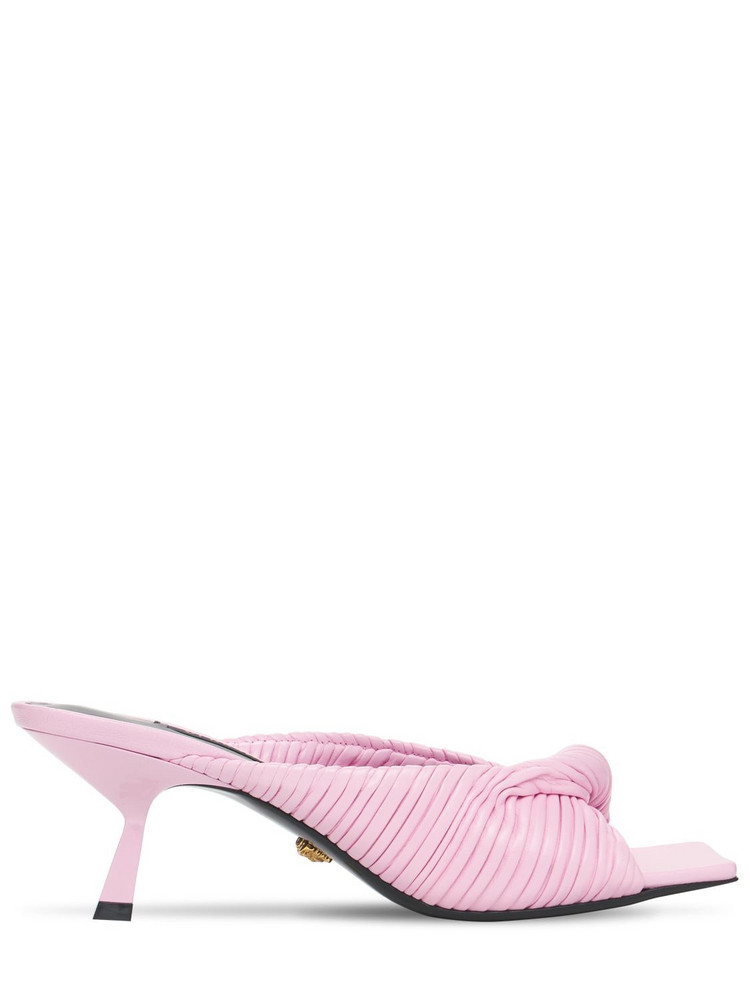 VERSACE 50mm Leather Mules in pink
