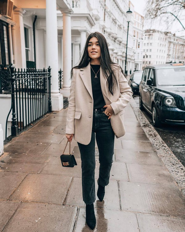 jacket blazer wool oversized black boots black jeans cropped jeans straight jeans black bag mini bag black top