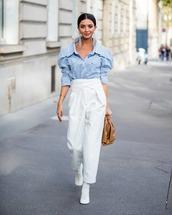 pants,white pants,high waisted pants,white boots,bag,striped shirt,celine,top