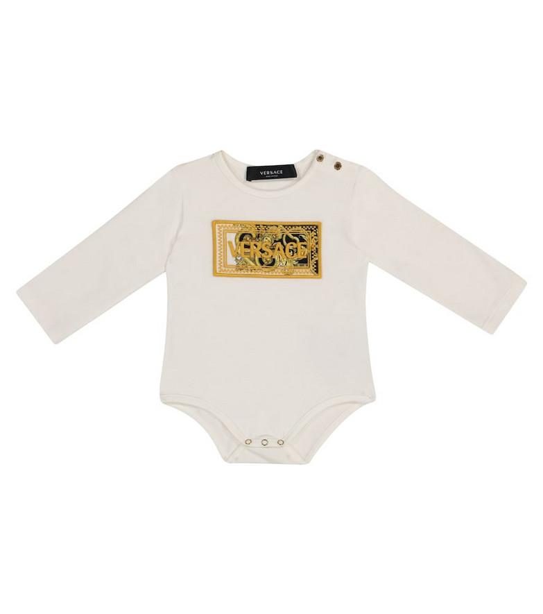 Versace Kids Barocco stretch-cotton bodysuit in white