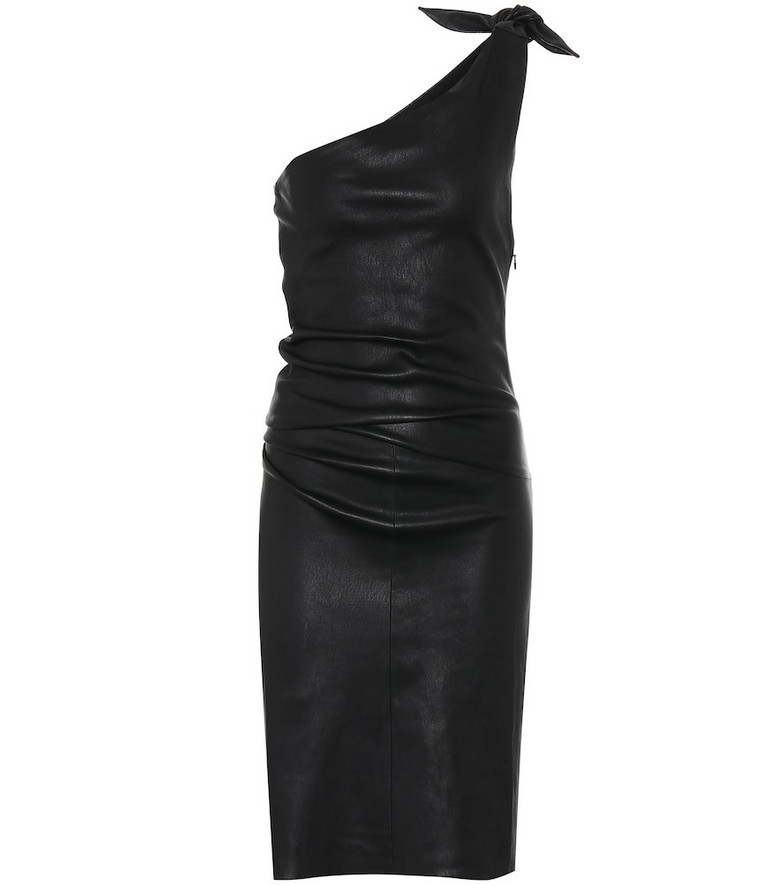Stouls Pepita one-shoulder leather dress in black