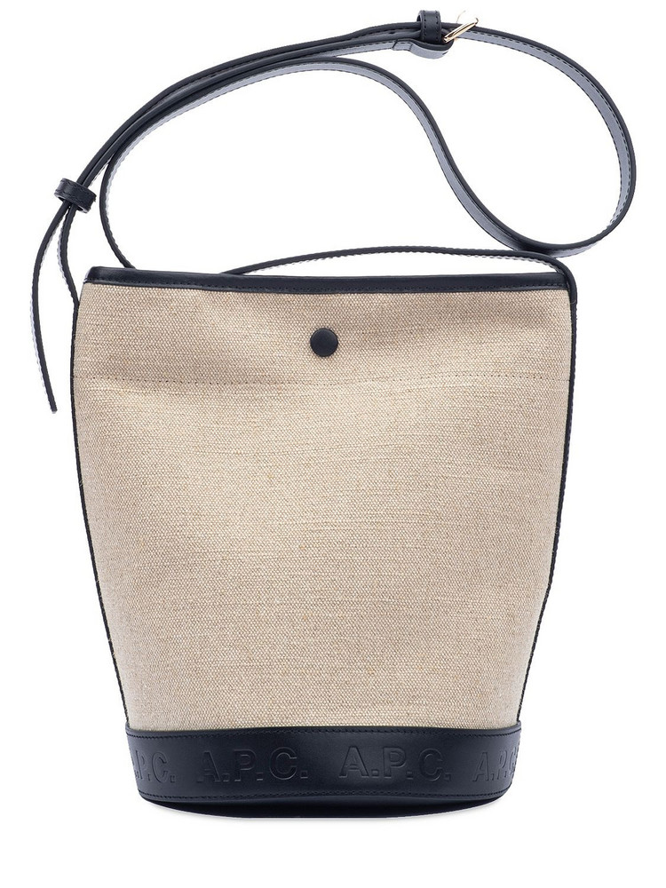 A.P.C. Sac Helene Canvas & Leather Bucket Bag in black