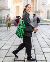 bag,shoulder bag,maxi bag,bottega veneta,black shoes,black pants,black leather jacket,black bag