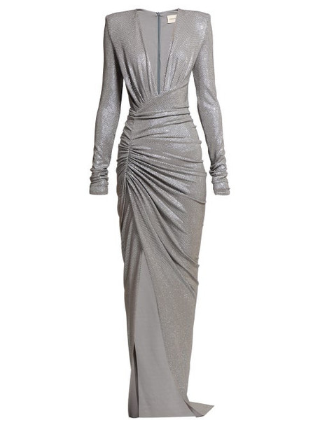 Alexandre Vauthier - Crystal Embellished Ruched Gown - Womens - Silver