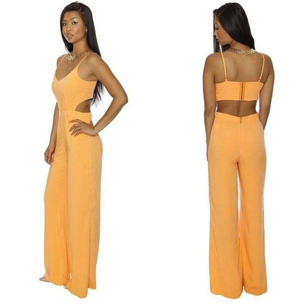 dress not a dress jumpsuit neon bright orange summer cut-out romper pantsuit